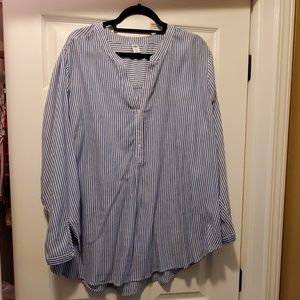 Old Navy blue white striped blouse